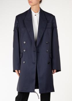 Синее пальто Nina Ricci из шерсти в полоску, фото