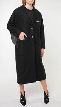 Шерстяное пальто Frankie Morello с декором-бахромой, фото