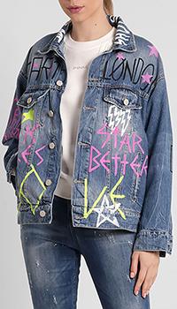 Джинсовая куртка Frankie Morello с принтами синего цвета, фото