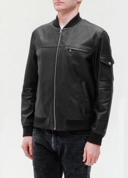 Кожаный бомбер Hugo Boss черного цвета, фото