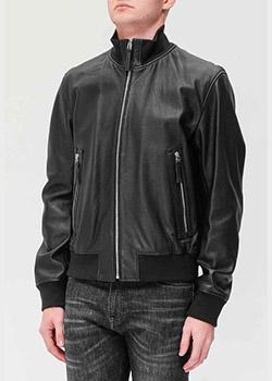Кожаная куртка Hugo Boss с высоким воротником, фото