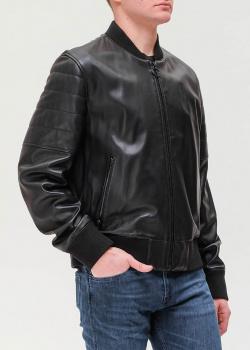 Черный кожаный бомбер Hugo Boss , фото