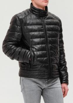Короткая кожаная куртка Hugo Boss черного цвета, фото