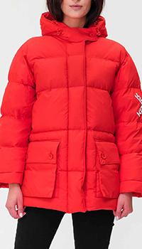Красный пуховик Kenzo с накладными карманами, фото