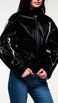 Черная куртка Love Moschino с фирменным логотипом, фото