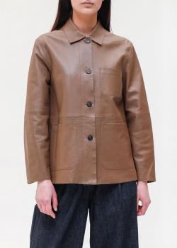 Кожаная куртка Max Mara Weekend коричневая цвета, фото
