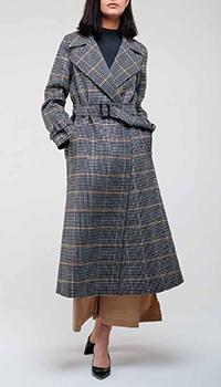 Клетчатое пальто Max Mara Weekend серого цвета, фото