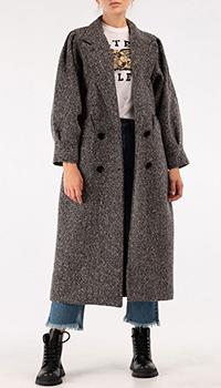 Длинное пальто MSGM из серой шерсти, фото
