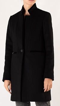 Пальто прямого кроя Maje черного цвета, фото