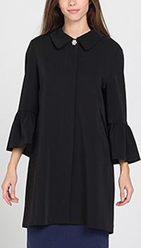 Черное пальто Blugirl Blumarine с воланами на рукавах, фото