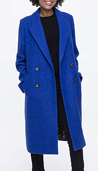 Пальто Trench & Coat из шерсти ярко-синего цвета, фото