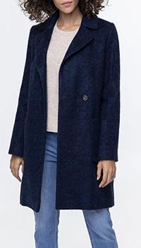 Женское пальто Trench & Coat из альпаки темно-синего цвета, фото
