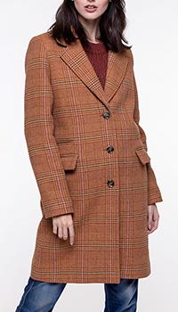 Коричневое пальто Trench & Coat в клетку, фото