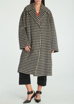 Пальто в клетку N21 из смесовой шерсти, фото