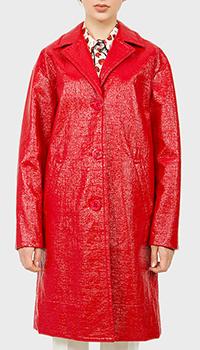 Лакированный плащ N21 красного цвета, фото