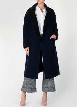 Синее шерстяное пальто N21 с поясом, фото