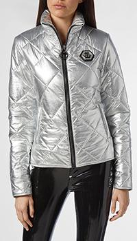 Стеганая куртка Philipp Plein серебристого цвета, фото