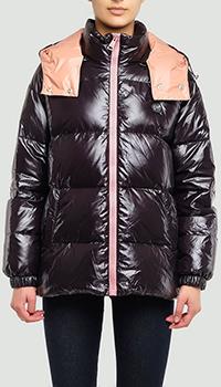 Черная куртка Philipp Plein Anniversary 20th с розовой вставкой, фото