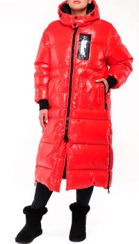 Красный женский пуховик Philipp Plein с брендовой надписью, фото