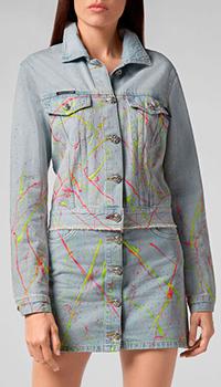 Укороченная джинсовая куртка Philipp Plein с брызгами краски, фото