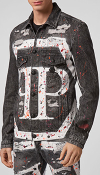 Джинсовая куртка Philipp Plein серого цвета, фото