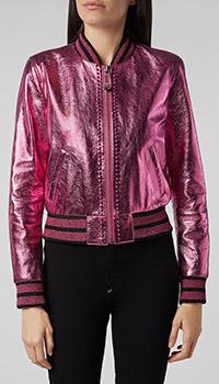 Розовый кожаный бомбер Philipp Plein с декором-шипами, фото