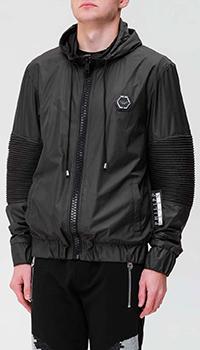 Черная куртка Philipp Plein с рельефными вставками, фото