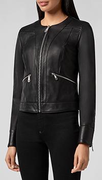 Кожаная куртка Philipp Plein с фирменной надписью на спине, фото