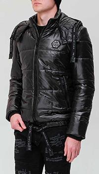 Черная куртка Philipp Plein с горизонтальной стежкой, фото