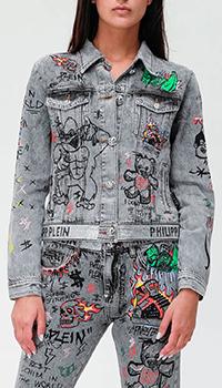 Джинсовая куртка Philipp Plein с декором-стразами, фото