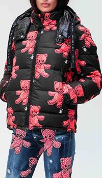 Черный пуховик Philipp Plein с принтом и вышивкой на спине, фото