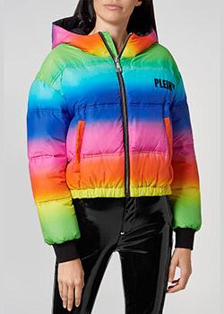 Разноцветный короткий пуховик Philipp Plein на резинке, фото