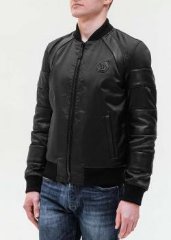 Черный бомбер Philipp Plein с кожаными вставками, фото