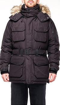 Черная мужская куртка Ralph Lauren с поясом, фото
