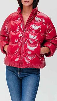 Красный пуховик Red Valentino с фигурной стежкой, фото