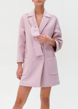 Розовое пальто Red Valentino с бантом и накладными карманами, фото