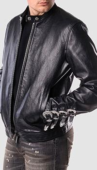 Кожаная куртка Dsquared2 с пряжками на манжетах, фото