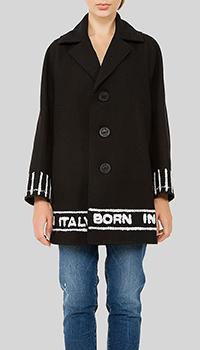 Черное пальто Dsquared2 на три пуговицы, фото
