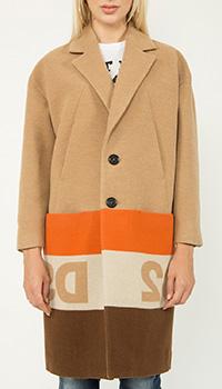 Шерстяное пальто Dsquared2 с логотипом, фото