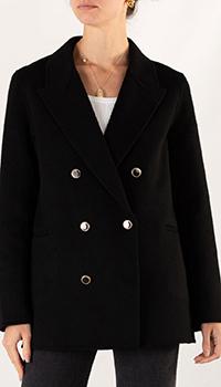 Короткое пальто Sandro черного цвета, фото