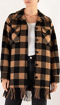Клетчатое пальто-рубашка Sandro с бахромой, фото