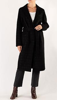 Черное пальто Sandro в золотистую клетку, фото