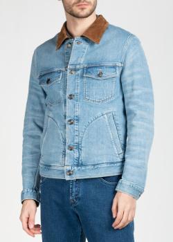 Джинсовая куртка Brioni с замшевым воротником, фото