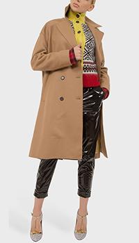 Бежевое пальто N21 прямого кроя с кашемиром, фото