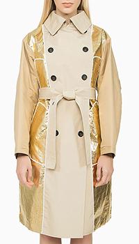 Бежевое женское пальто N21 с поясом, фото