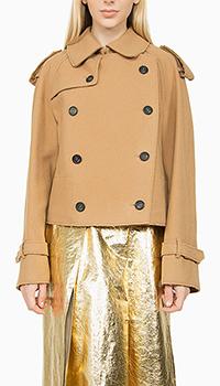Укороченное коричневое пальто N21 из шерсти, фото