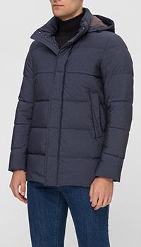 Стеганое пальто Herno синиее с капюшоном, фото