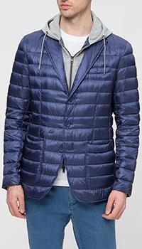 Мужская куртка Herno синяя с капюшоном, фото