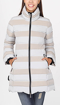 Пуховик Emporio Armani средней длины в бежевую полоску, фото