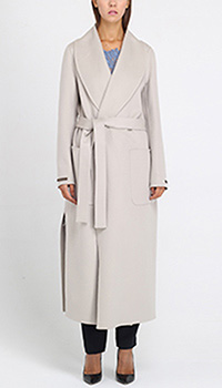 Кашемировое пальто Peserico серого цвета на запах, фото